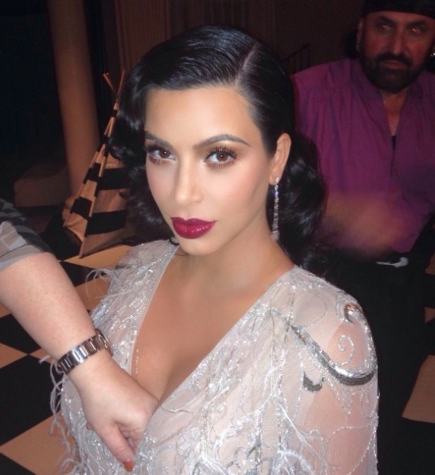 Kim Kardashian rocks burgundy lip to Kris Jenner's birthday party before last minute change, 12th November 2015