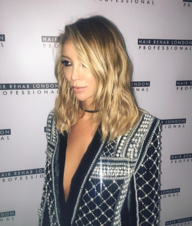 Lauren Pope shows off her new midi hair cut at Lauren Pope Academy X Hair Rehab London launch, Sanctum Hotel London, 12th November 2015