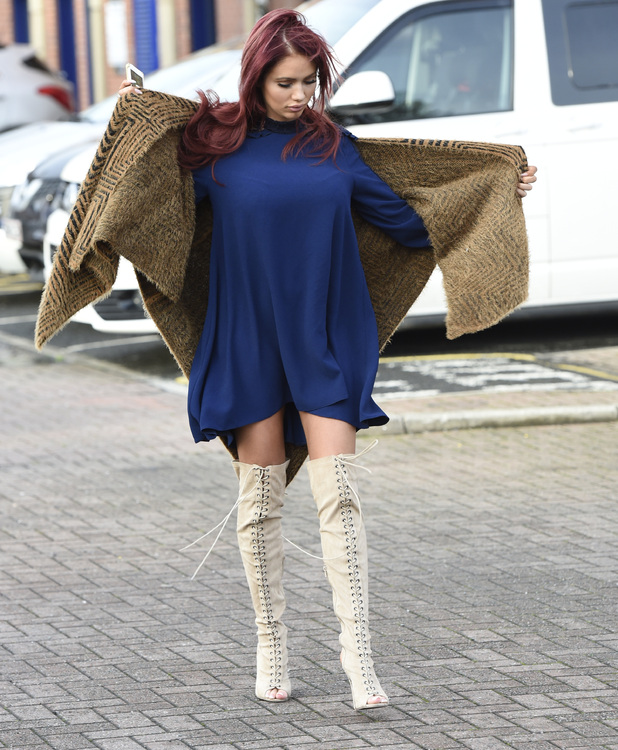 Amy Childs leaving her Manchester Hotel, 14 November 2015.
