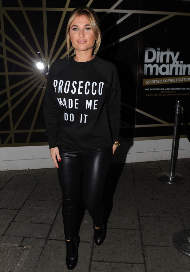 Billie Faiers seen leaving Dirty Martini in slogan jumper after launching her new fashion range - 10 November 2015.