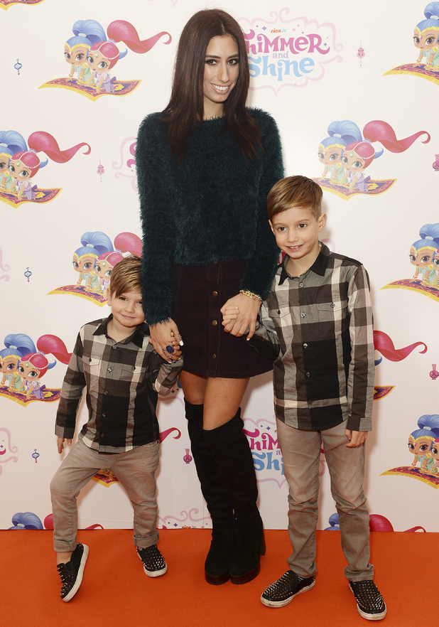 Stacey Solomon and her two sons attend Shimmer and Shine premiere, London 8 November