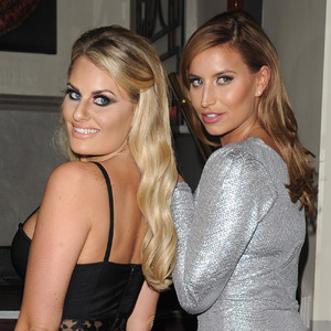 Danielle Armstrong and Ferne McCann - TOWIE cast film James Bond birthday party at The sugar hut. 21 October 2015.