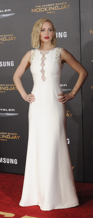 Jennifer Lawrence in white dress at The Hunger Games Mockinngjay Part 2 premiere in L.A, 17th November 2015