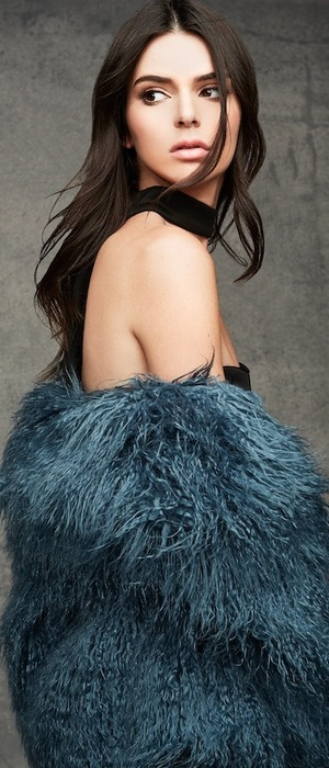 Kendall + Kylie launch Topshop winter collection, Kendall posing in green faux fur coat 17th November 2015