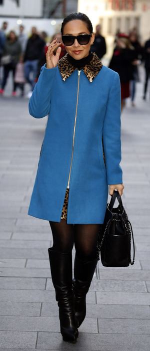 Myleene Klass out and about in London wearing blue coat from Very.co.uk range, 16th November 2015