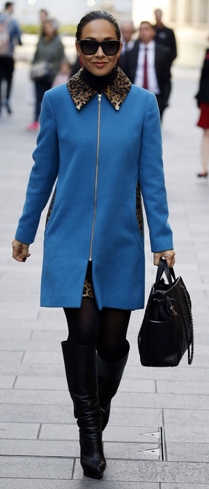 Myleene Klass on her way to work through London's Leicester Swuare, 16th November 2015