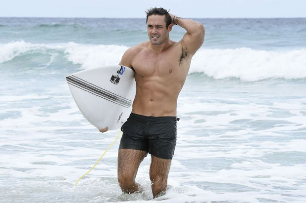 Spencer Matthews surfing ahead of going into the jungle, Surfers Paradise, Gold Coast, Australia 17 November