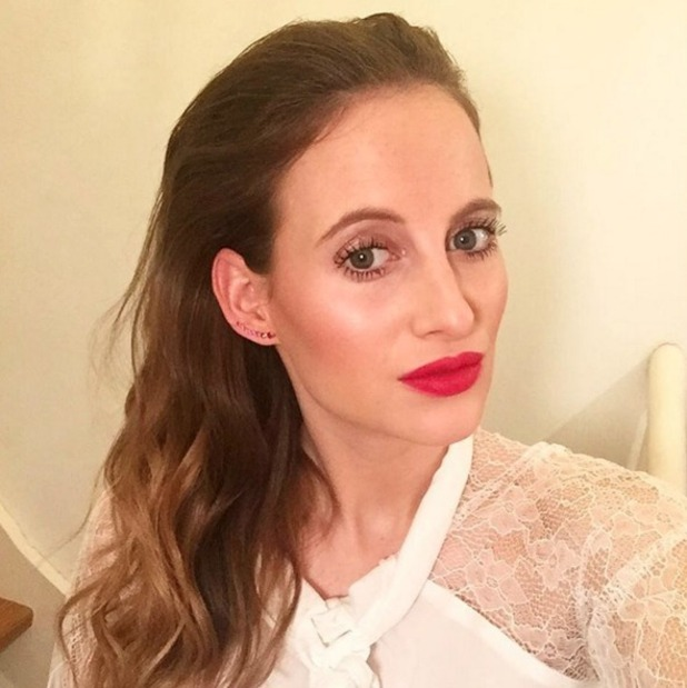 Rosie Fortescue poses in Tom Ford lipstick en route to Millie Mackintosh clothing launch, 10 November 2015