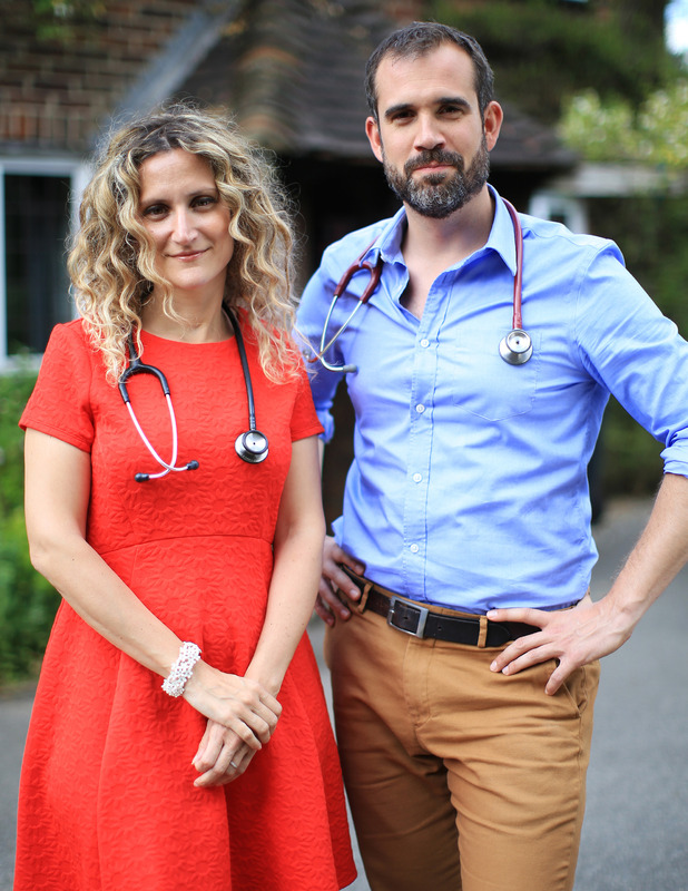 Dr Xand Van Tulleken and Dr Ellie Cannon - new Channel 4 show Doctor In Your House. 16 November 2015.