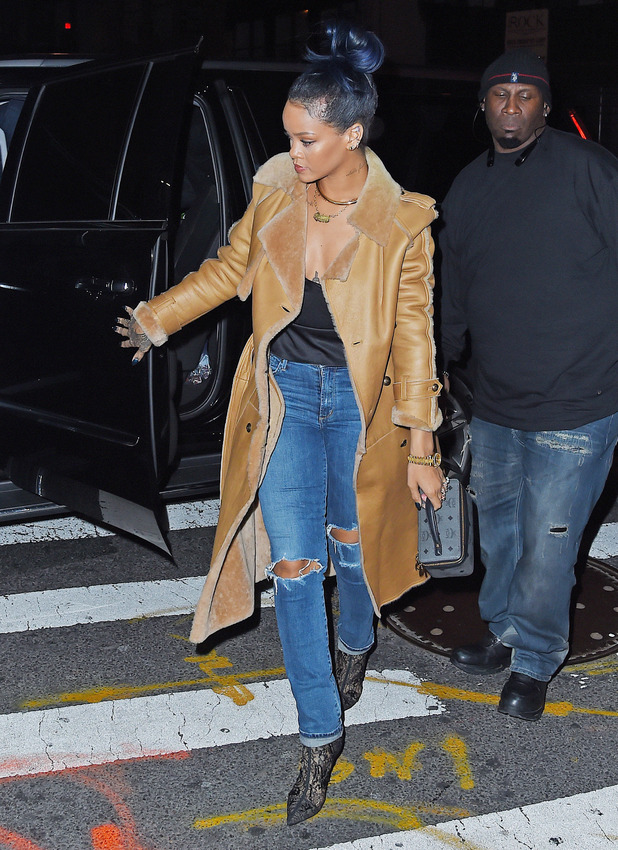 Rihanna and Travis Scott seen arriving at the 40/40 club for Cotto vs Canelo viewing party, 21 November 2015.