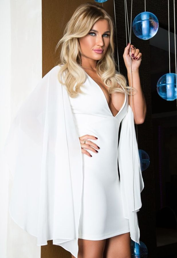 Billie Faiers poses in white cape dress from In The Style collection, 17th November 2015
