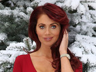 Amy Childs looks super-Christmassy in fabulous crimson dress