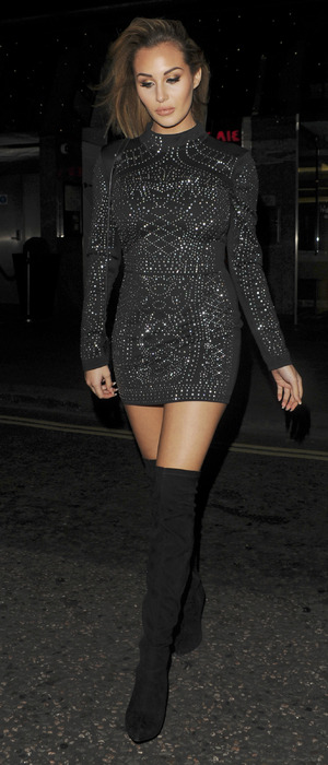 Celebrity Big Brother's Chloe Goodman is seen leaving Nordoff Robbins Boxing Dinner at the Hilton Hotel Park Lane, 23rd November 2015