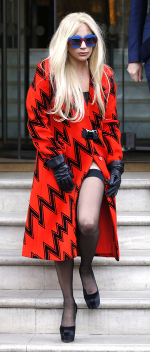 Lady Gaga wearing printed dress out and about in London, 25th November 2015