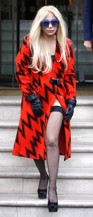 Lady Gaga wearing printed dress and tights out and about in London, 25th November 2015