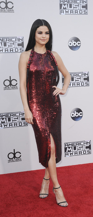 Selena Gomez on the red carpet at the 2015 American Music Awards, 23rd November 2015