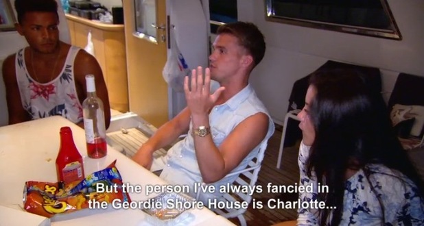 Gaz Beadle makes a confession about Charlotte Crosby on Geordie Shore, series 11 episode 6, 23rd November 2015