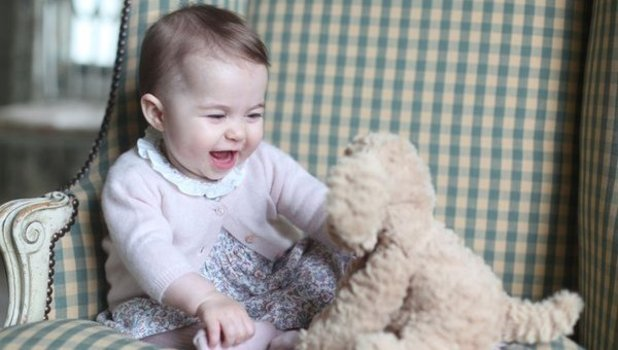 New pictures of six-month-old Princess Charlotte taken by mum Kate Middleton, 29 November 2015.