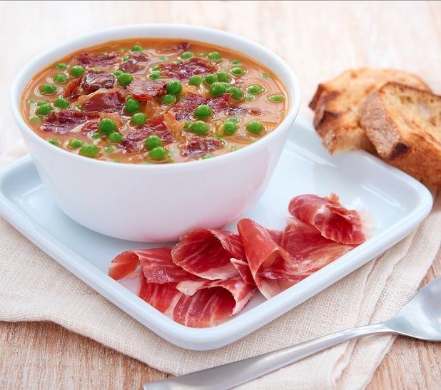 omar allibhoy Pea soup with jamón ibérico