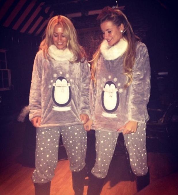 Kate Wright and Georgia Kousoulou in Christmas pyjamas, Scotland 23 November