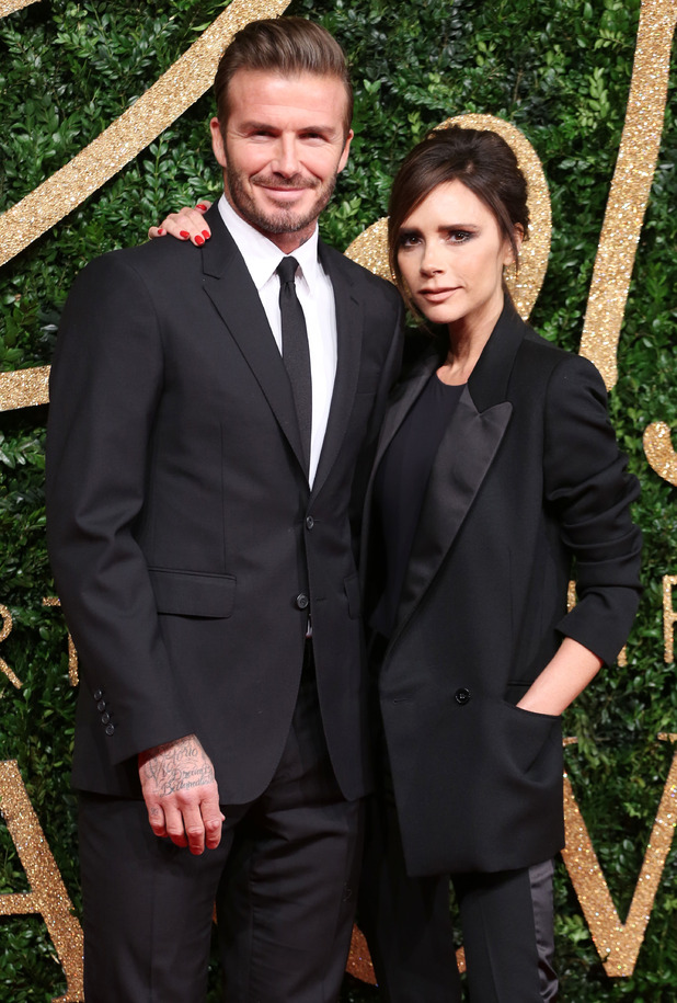 David Beckham and Victoria Beckham at The British Fashion Awards 2015 - 23 November 2015.