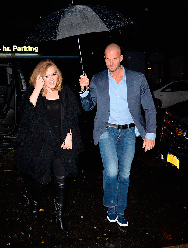 Adele and her bodyguard Peter van der Veen head out in New York city, 19th November 2015