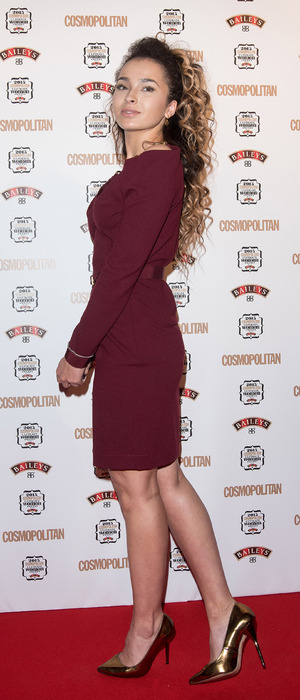 Ella Eyre wears burgundy to the Cosmopolitan Women of The Year Awards in London, 3rd December 2015