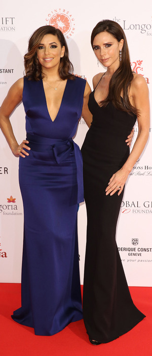 Victoria Beckham and Eva Longoria on the red carpet at the Global Gift Gala in London, 1st December 2015