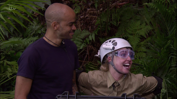 Kieron Dyer and Jorgie Porter after the 'Horrible Heist' Bushtucker Trial on 'I'm a Celebrity... Get Me Out of Here! 3 December 2015.