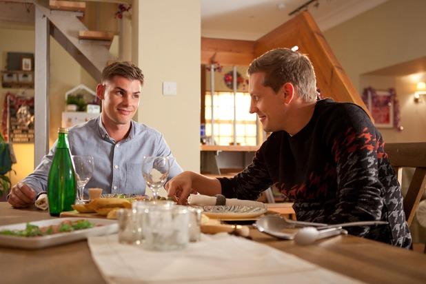 Hollyoaks, John Paul and Ste have dinner, Fri 4 Dec