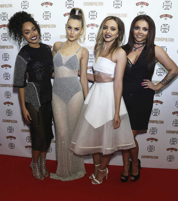 Little Mix ladies Jade Thiirlwall, Jesy Nelson, Perrie Edwards, Leigh-Anne Pinnock attend the Cosmopolitan Ultimate Women of the Year Awards party 2015 in London's Mayfair, 3rd December 2015