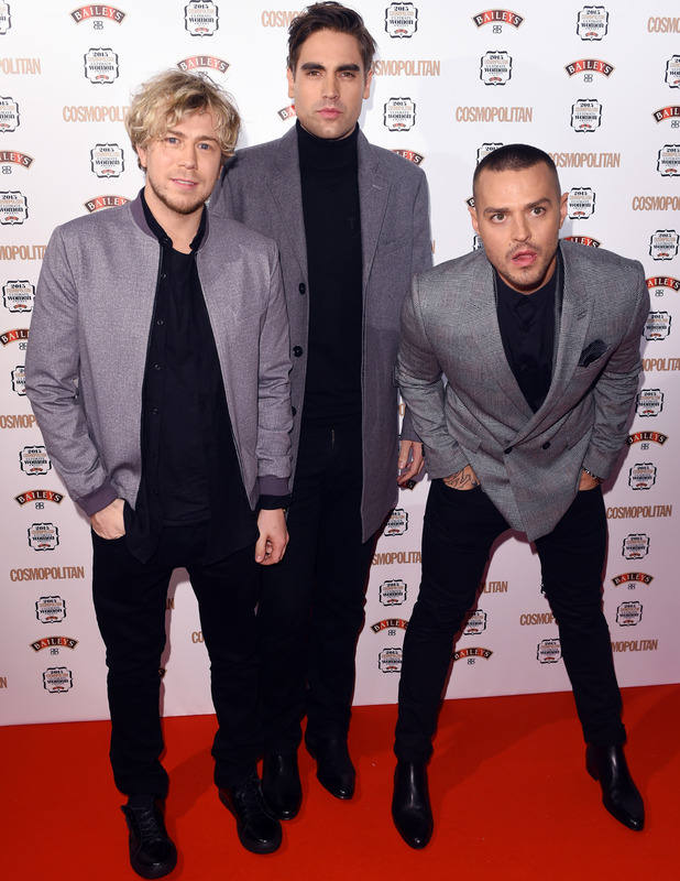 Busted's Matt Willis, James Bourne, Charlie Simpson at the Cosmopolitan Ultimate Women of The Year Awards 2015, 3rd December 2015