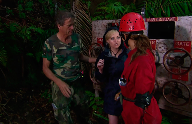Jorgie Porter and Ferne McCann are forced to abandon their Dingo Dollar Challenge due to a storm, on 'I'm a Celebrity... Get Me Out of Here!' Broadcast on ITV1 HD.