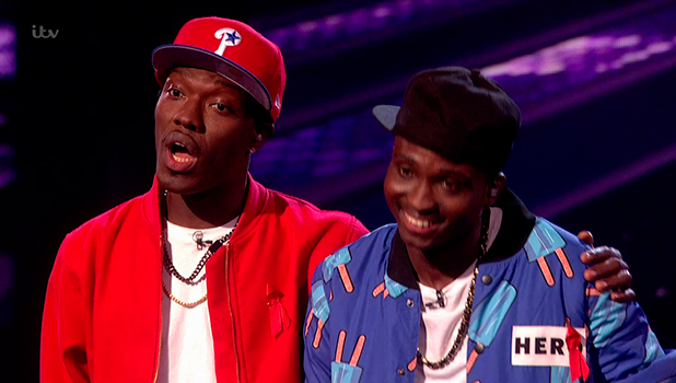 Reggie 'N' Bollie getting the judges' feedback after they had performed 'Dynamite' on the Jukebox Night edition of 'The X Factor'. Broadcast on ITV1 HD.