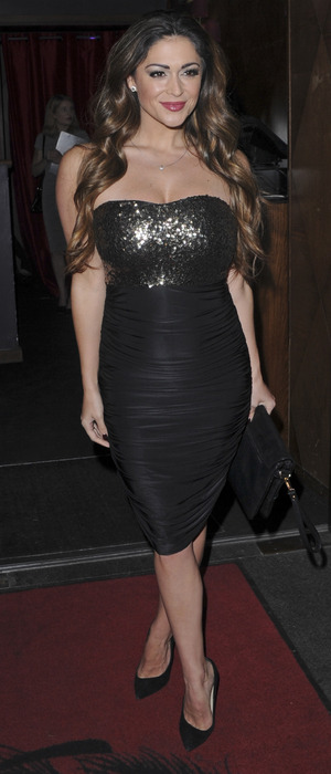 Casey Batchelor wears sequin black dress, attends a charity fundraiser in aide of The Stroke Association, 9th December 2015