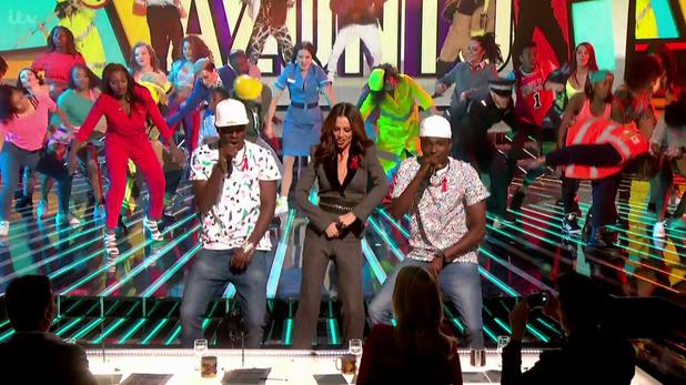 Cheryl Fernandez-Versini joins Reggie 'N' Bollie as they perform 'Watch Me (Whip/Nae Nae)' on The X Factor. 28 November 2015.