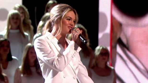 Louisa Johnson performing 'It's a Man's Man's Man's World' on the semi final of 'The X Factor'