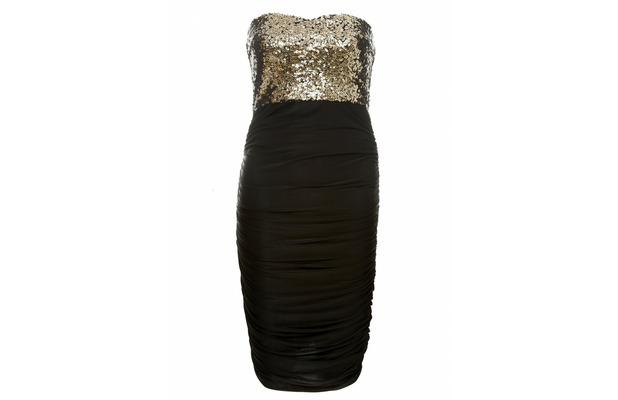 AX Paris ruched and sequin dress, black and gold £35, 9th December 2015