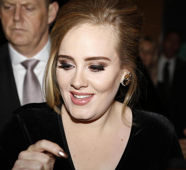 Adele leaves Italian TV show Che tempo che fa studios and poses for pictures with waiting fans, 4 December 2015