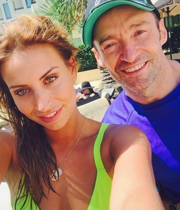 Ferne McCann takes a selfie with Hugh Jackman in Australia 9 Dec 2015