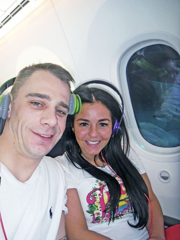 Lisa Reid and her fiance on the way to Jamaica