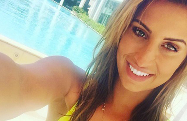 Ferne McCann relaxes by the pool in Australia, 7 December 2015