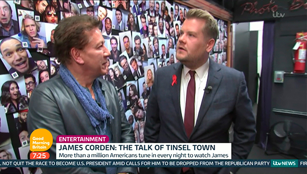 James Corden discussing his first year as host of US talk show 'The Late Late Show' on 'Good Morning Britain'. Broadcast on ITV1 HD.