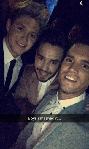 Gary Beadle with Liam Payne and Niall Horan at The X Factor final, London 13 December