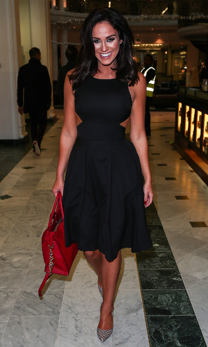"""Vicky Pattison leaves the studio after appearing on """"Sunday Brunch"""", 13th December 2015"""