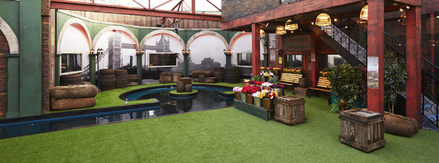 Celebrity Big Brother house series 17 ti air January 2016 - garden. 18 December 2015.