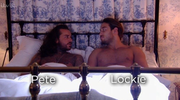 Pete Wicks and James Lock in bed together, TOWIE Essexmas 16 December