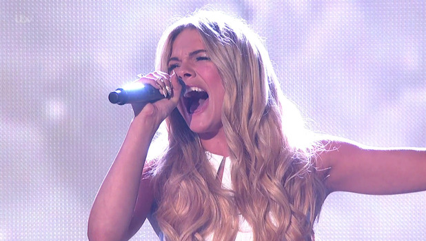 Louisa Johnson performing 'I Believe I Can Fly' on the final of 'The X Factor' - 12 December.