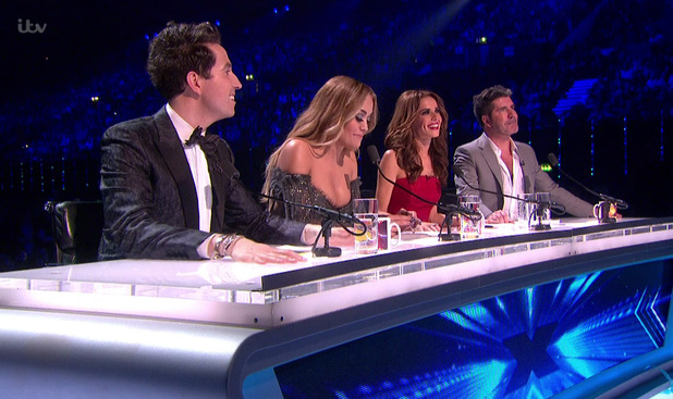 The judges give their feedback to Louisa Johnson after she had performed the winner's single on the results show for the final of 'The X Factor'. 13 December 2015.