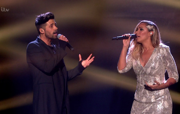 Former winners Ben Haenow and Leona Lewis perform a medley of 'Slamming Doors' and 'Run' on the final of 'The X Factor'. Broadcast on ITV1 HD, 12 December 2015
